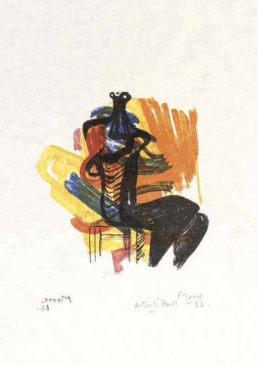 Henry Moore >> Black Seated Figure on Orange Ground  |  (Drawing, artwork, reproduction, copy, painting).