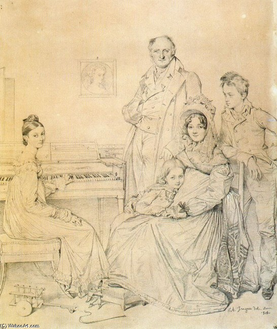 Jean auguste dominique ingres portrait drawing of the stamaty family oil artwork - Ingres bagno turco ...