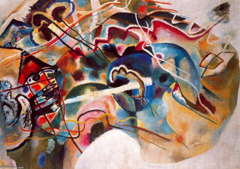 Kandinsky >> Painting with white border  |  (Drawing, artwork, reproduction, copy, painting).