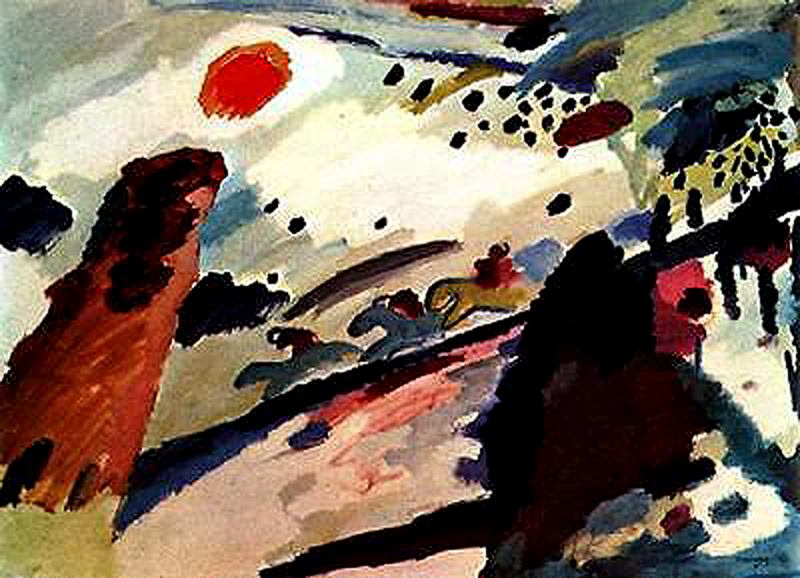 Kandinsky >> Romantic Landscape 1  |  (Drawing, artwork, reproduction, copy, painting).