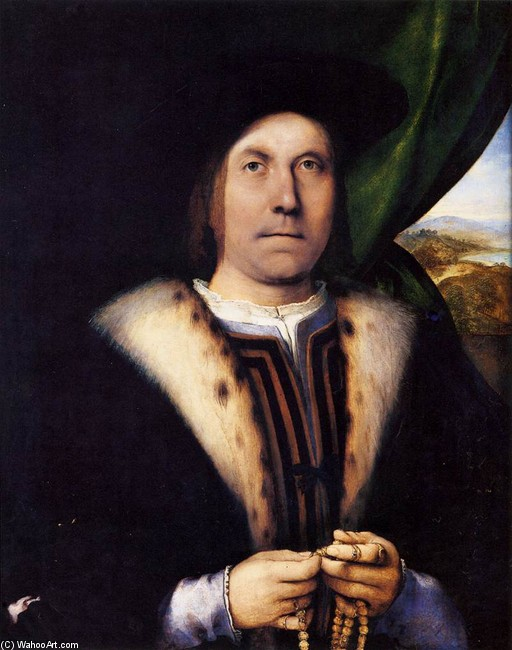 Lorenzo Lotto >> Portrait of a Gentleman with a Rosary  |  (Oil, artwork, reproduction, copy, painting).