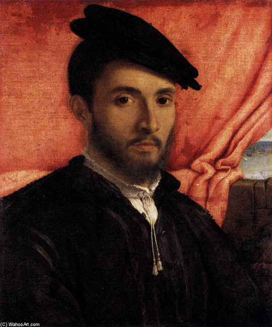 Lorenzo Lotto >> Portrait of a Young Man  |  (Oil, artwork, reproduction, copy, painting).
