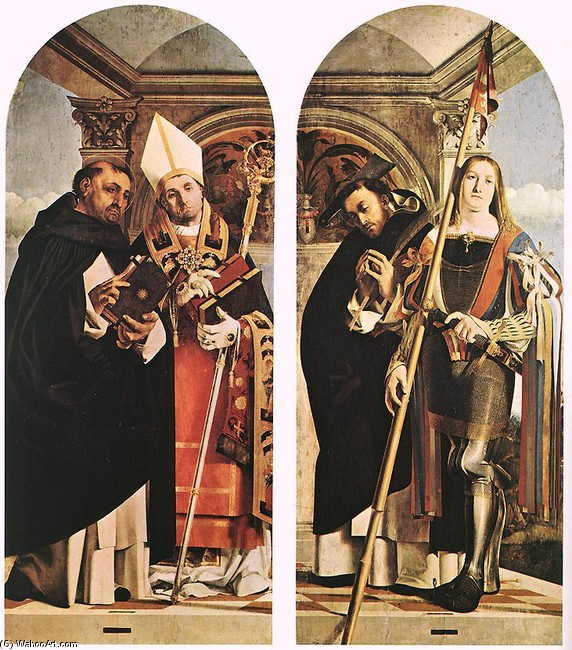 Lorenzo Lotto >> Sts Thomas Aquinas and Flavian, Sts Peter the Martyr and Vitus  |  (Oil, artwork, reproduction, copy, painting).