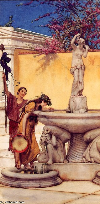 Sir Lawrence Alma Tadema >> Between Venus and Bacchus  |  (Sculpture, artwork, reproduction, copy, painting).