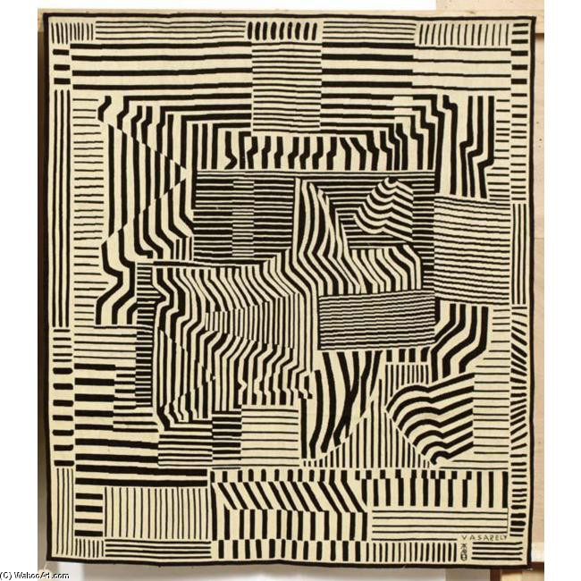 Victor Vasarely >> Zirza, A Tapestry Designed By Victor Vasarely For Tabard, Aubusson  |  (Oil, artwork, reproduction, copy, painting).