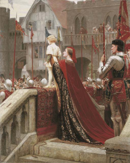 Edmund Blair Leighton >> A Little Prince likely in Time to bless a Royal Throne  |  (Drawing, artwork, reproduction, copy, painting).