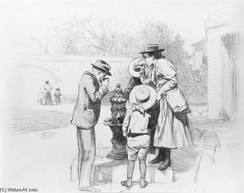 Edward Henry Potthast >> Figures at a Fountain  |  (Drawing, artwork, reproduction, copy, painting).