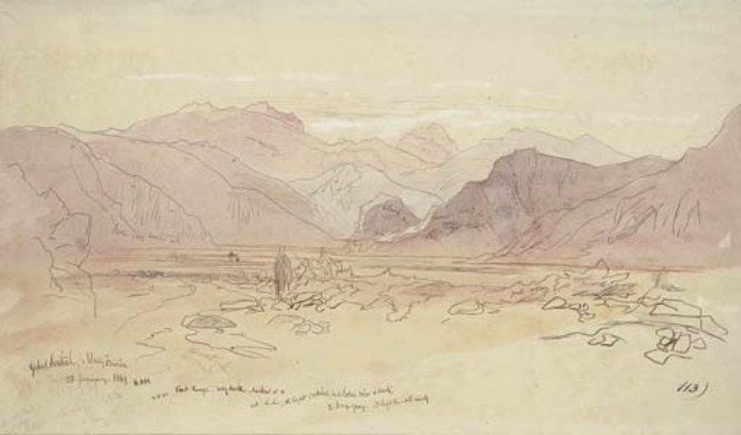 Edward Lear >> Gebal Serbal And Wady Feiran, On The Sinai Peninsula  |  (Drawing, artwork, reproduction, copy, painting).