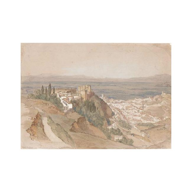 Edward Lear >> The Alhambra With The Generalife And The Palace Of Charles V From Under La Silla Del Moro  |  (Drawing, artwork, reproduction, copy, painting).