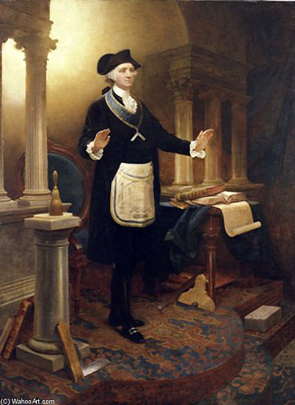 Emanuel Gottlieb Leutze >> George Washington As A Master Mason  |  (, artwork, reproduction, copy, painting).