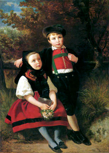 Emanuel Gottlieb Leutze >> Kinder in schwäbischer Tracht  |  (, artwork, reproduction, copy, painting).