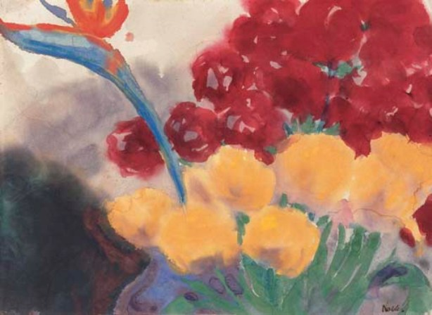 Emil Nolde >> Flower still life with paradise bird flower (Strelizie)  |  (, artwork, reproduction, copy, painting).