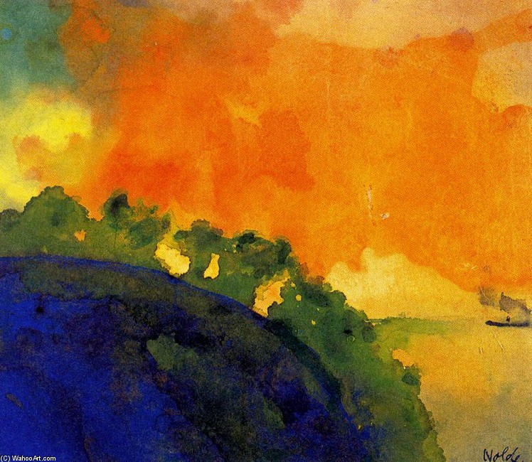 Emil Nolde >> Mountain Slope over the Sea  |  (, artwork, reproduction, copy, painting).