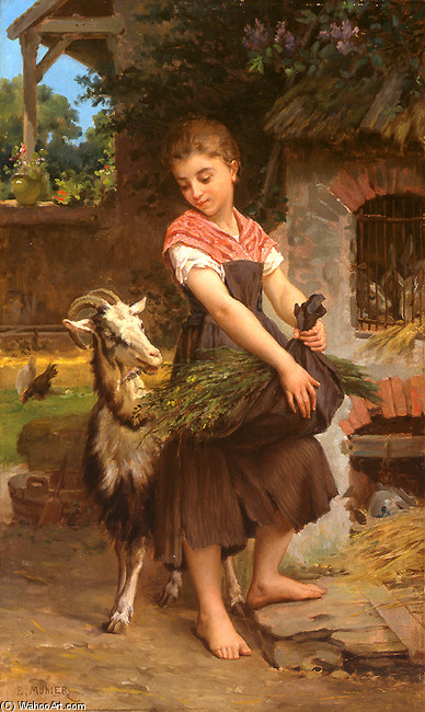 Emile Munier >> Farm Girl with her Pet Billy Goat  |  (, artwork, reproduction, copy, painting).