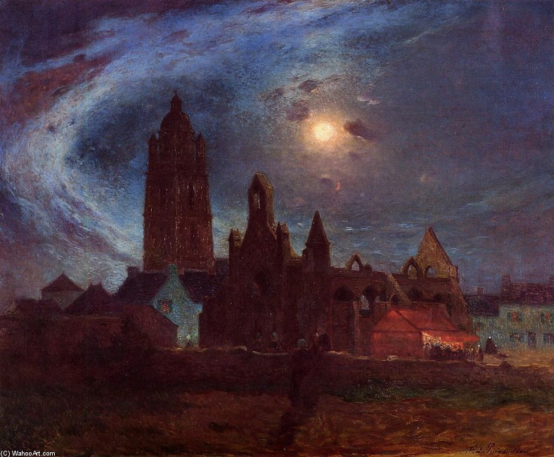 Ferdinand du Puigaudeau - The Bourg­de­Batz Church under the Moon