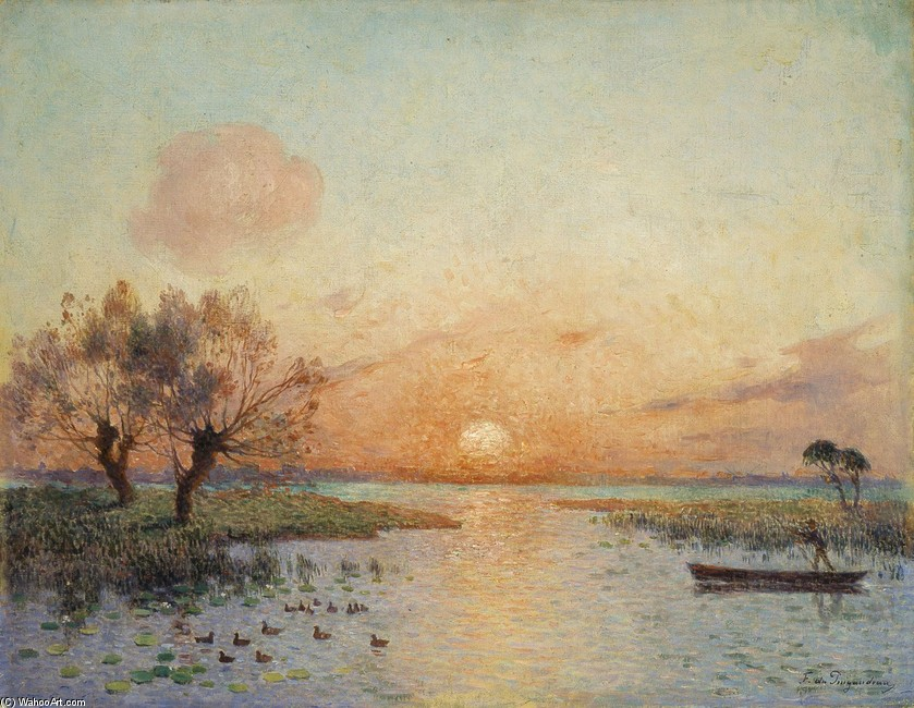 Ferdinand du Puigaudeau >> The Pond at Sunset (La Mare au coucher du soleil)  |  (, artwork, reproduction, copy, painting).