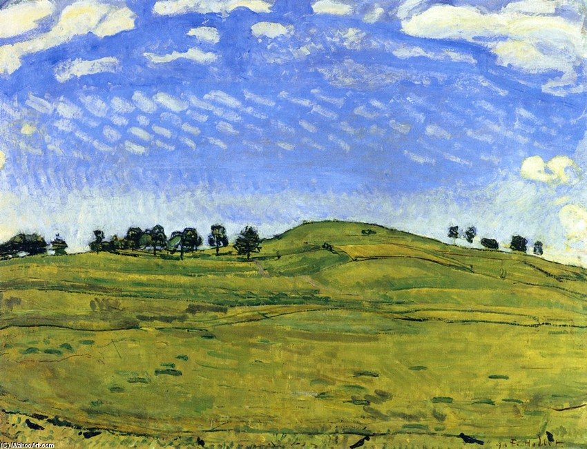 Ferdinand Hodler >> Hilly Landscape with Ravens, in the Bernese Oberland  |  (, artwork, reproduction, copy, painting).