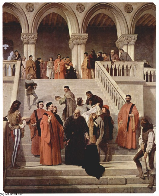 Francesco Hayez >> The last moments of the Doge Marin Faliero  |  (, artwork, reproduction, copy, painting).