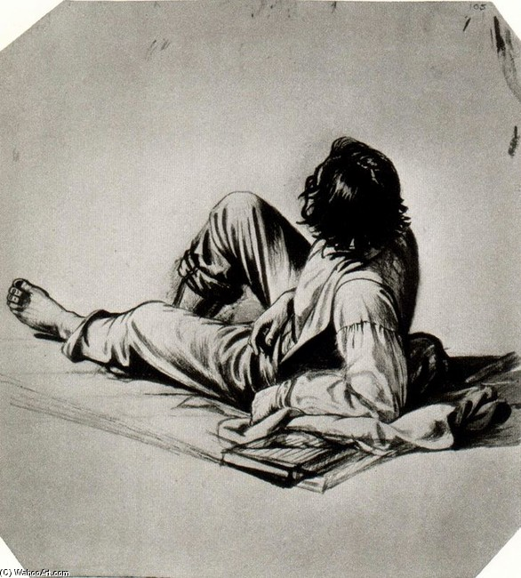 George Caleb Bingham >> Study of a Boatman for Woodboatmen on a River  |  (, artwork, reproduction, copy, painting).