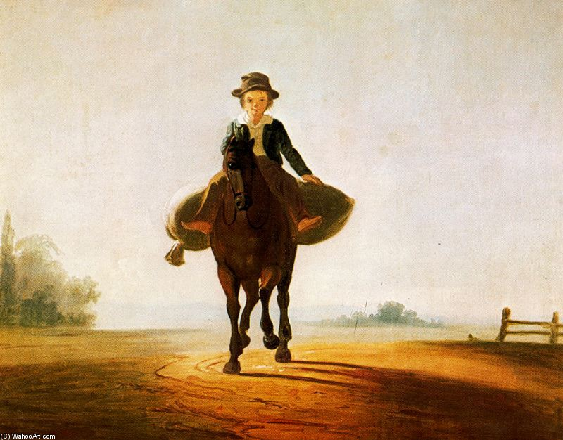 George Caleb Bingham >> The Mill Boy. The Boonville Juvenile Clay Club Banner  |  (, artwork, reproduction, copy, painting).