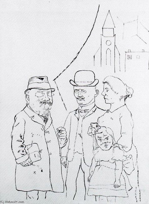 George Grosz >> Four people in front of the church  |  (, artwork, reproduction, copy, painting).