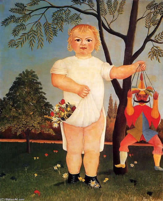 Henri Rousseau >> Child with Puppet (aka To Celebrate the Baby)  |  (, artwork, reproduction, copy, painting).