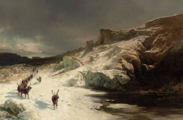 Herman Herzog >> Elk in a Snowy Landscape  |  (, artwork, reproduction, copy, painting).