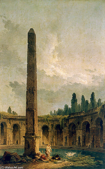 Hubert Robert >> Decorative Landscape with an Obelisk  |  (, artwork, reproduction, copy, painting).