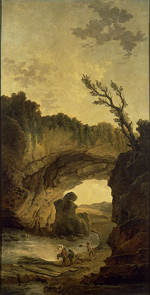 Hubert Robert >> Landscape with an Arch in a Rock  |  (, artwork, reproduction, copy, painting).