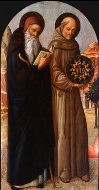 Jacopo Bellini >> Saint Anthony Abbot and Saint Bernardino of Siena  |  (, artwork, reproduction, copy, painting).