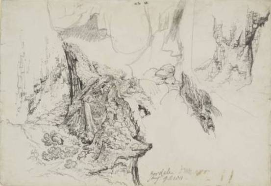 James Ward >> Study for `Gordale Scar'. Details of Rocks near Waterfall  |  (, artwork, reproduction, copy, painting).