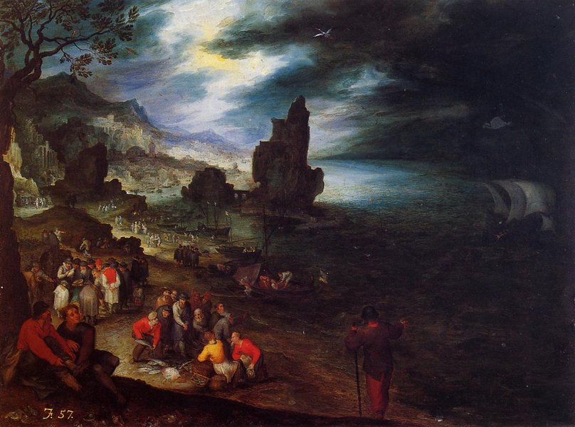 Jan Bruegel the Elder >> Coastal Landscape with the Sacrifice of Jonas  |  (, artwork, reproduction, copy, painting).
