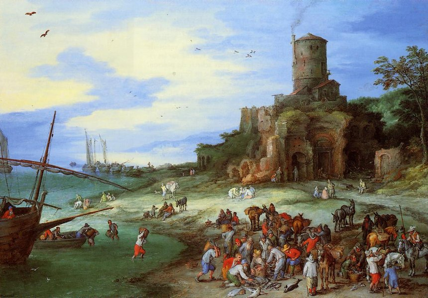 Jan Bruegel the Elder >> Coastal Landscape with the Tomb of Scipion  |  (, artwork, reproduction, copy, painting).