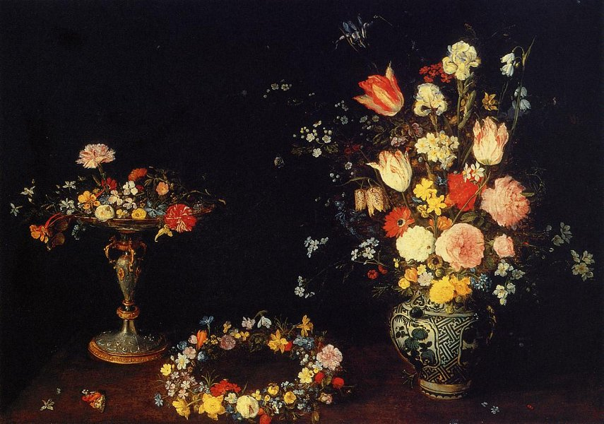 Jan Bruegel the Elder >> Still Life with a Tazza, Garland and Bouquet of Flowers in a Porcelain Vase  |  (, artwork, reproduction, copy, painting).