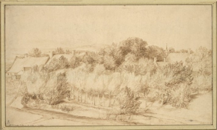 Jan Lievens - View of a group of houses surrounded by dense forest cover