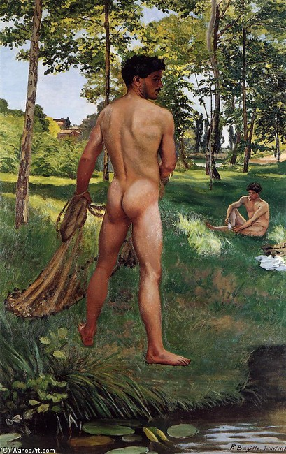 Jean Frederic Bazille >> Fisherman with a Net  |  (, artwork, reproduction, copy, painting).