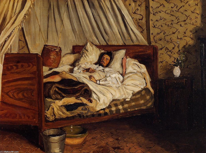 Jean Frederic Bazille >> The Improvised Field Hospital (aka Monet after His Accident at the Inn of Chailly)  |  (, artwork, reproduction, copy, painting).
