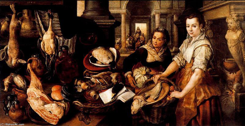 Joachim Beuckelaer >> Christ in the House of Martha and Mary 1  |  (, artwork, reproduction, copy, painting).