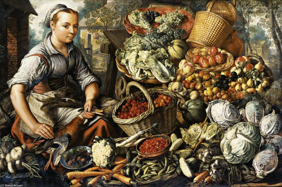 Joachim Beuckelaer >> Market Woman with Fruit, Vegetables and Poultry  |  (, artwork, reproduction, copy, painting).