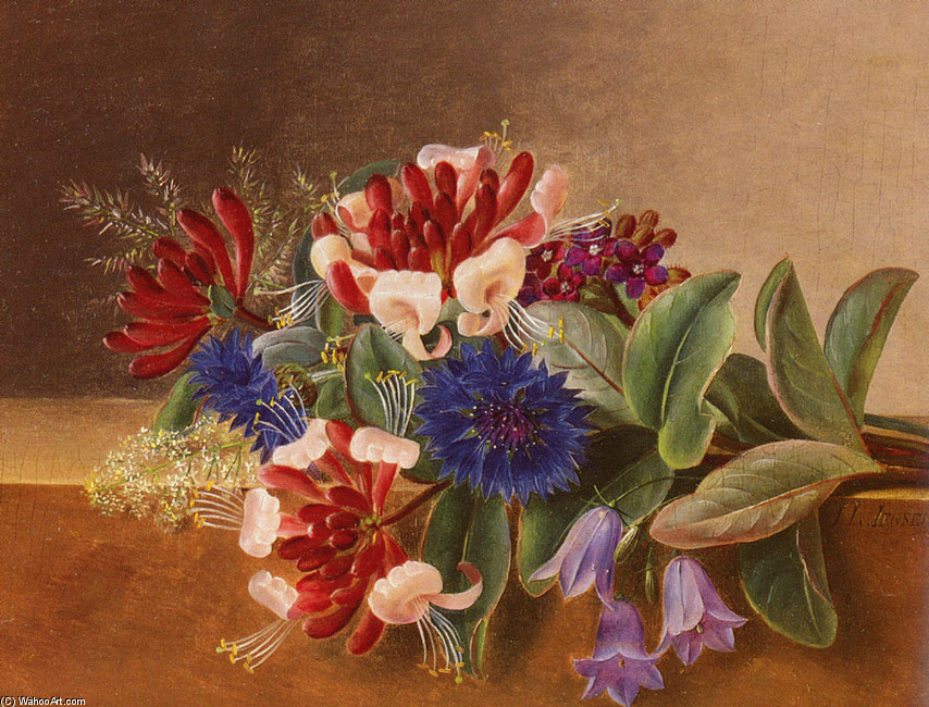 Johan Laurentz Jensen >> A Still Life with Honeysuckle, Blue Cornflowers and Bluebells on a Marble Ledge  |  (, artwork, reproduction, copy, painting).