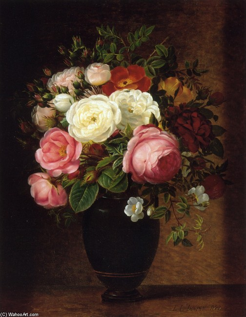 Johan Laurentz Jensen >> Pink and White Roses in a Black Glaze Amphora on a Brown Marble Ledge  |  (, artwork, reproduction, copy, painting).