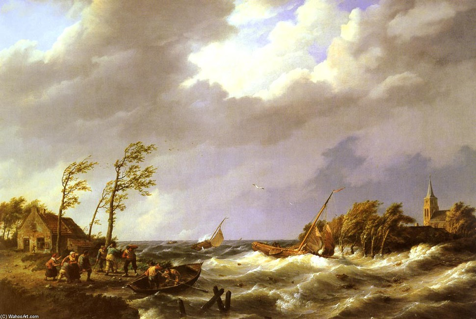 Johannes Hermanus Koekkoek >> Dutch Fishing Vessel caught on a Lee Shore with Villagers and a Rescue Boat in the foreground  |  (, artwork, reproduction, copy, painting).