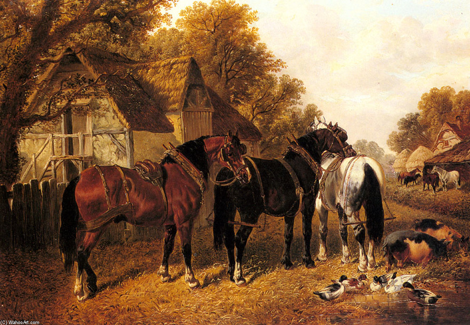 John Frederick Herring Junior >> An English Homestead  |  (, artwork, reproduction, copy, painting).