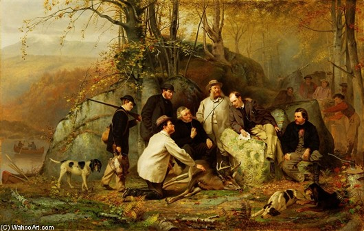 John George Brown >> Claiming the Shot. After the Hunt in the Adirondacks  |  (, artwork, reproduction, copy, painting).