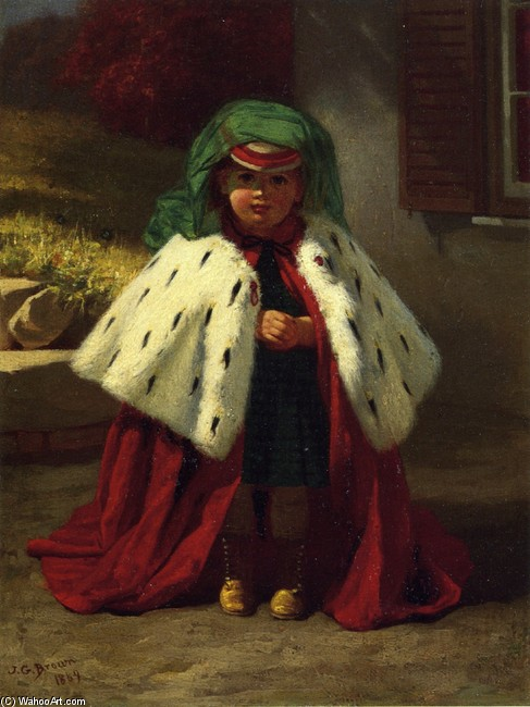 John George Brown >> Little Girl with Ermine Coat  |  (, artwork, reproduction, copy, painting).