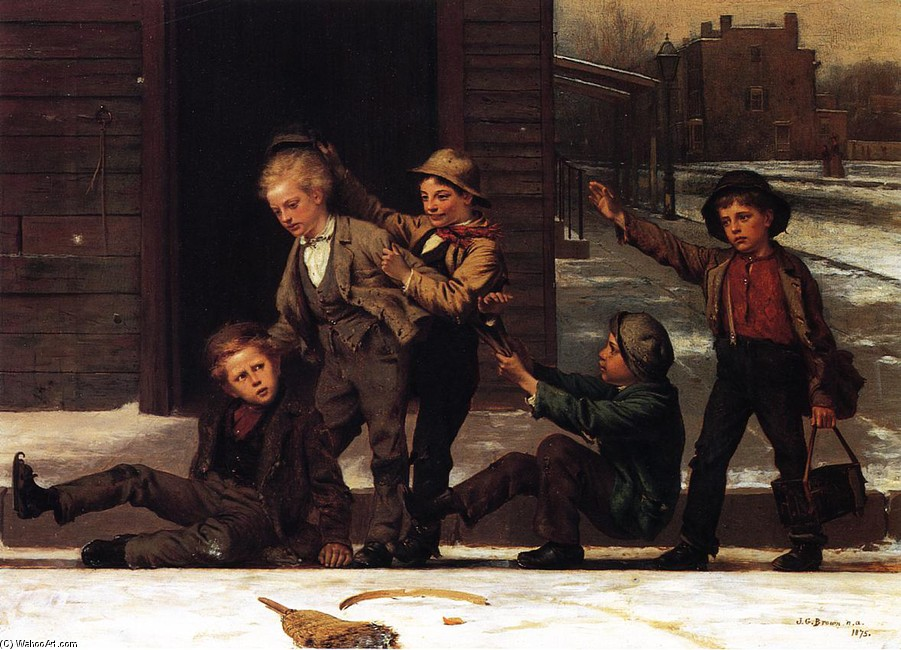 John George Brown >> Winter Sports in the Gutter  |  (, artwork, reproduction, copy, painting).