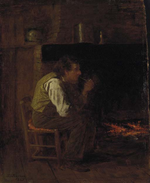 Jonathan Eastman Johnson >> Maine Interior (Man with Pipe)  |  (, artwork, reproduction, copy, painting).