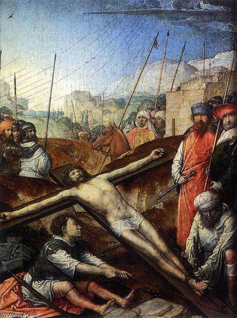 Juan De Flandes >> Christ Nailed to the Cross  |  (, artwork, reproduction, copy, painting).