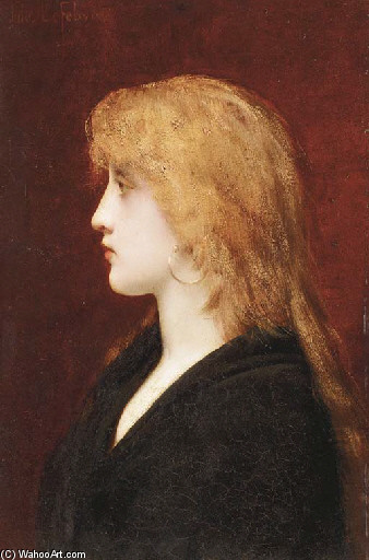 Jules Joseph Lefebvre >> A Young Girl in Profile  |  (, artwork, reproduction, copy, painting).