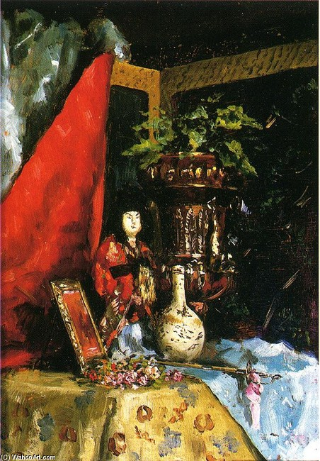 Julius LeBlanc Stewart >> Still Life with Asian Objects  |  (, artwork, reproduction, copy, painting).
